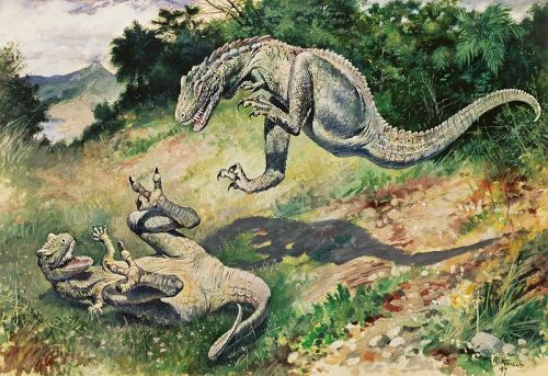 "rhamphotheca:  Laelops, now called Dryptosaurus, (1897) by Charles R. Knight You would think creating, perhaps the most revolutionary piece of paleoart ever, would get some fucking appreciation, but also… ""Too many fingers, no dewclaw, crocodilian osteoderms. Note that this image may be appropriate to illustrate obsolete paleontological views..."""