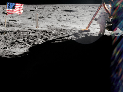 Neil Armstrong on the Lunar Surface As commander of Apollo 11, Neil Armstrong took most of the photographs from the historic moonwalk, but this rare shot from fellow moonwalker Buzz Aldrin shows Armstrong at work near the lunar module Eagle. Image Credit: NASA