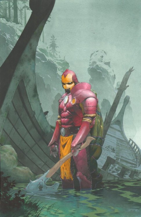 comicblah:  euclase:  by Esad Ribic (click here to see Iron Man as an airplane, a pinball machine, and a Mucha painting, among other designs).  Iron Man by Design variant cover by Esad Ribic (from Thor #609)