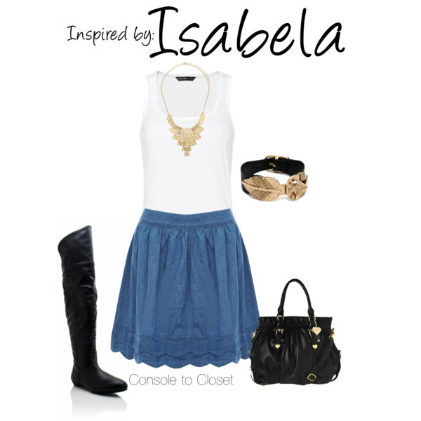 Isabela (Dragon Age) by ladysnip3r featuring a scalloped skirt This outfit is inspired by Isabela of the Dragon Age series. I chose to do a summer/fall transitional outfit by pairing a denim summer skirt with a white tank top and knee high boots. I also chose a geometric necklace that reminded me of Isabela's jewelry and leather accessories. (Reference Image) Mango racerback shirt / Oasis scalloped skirt, $16 / Genuine leather boots / Marc B tote bag, $74 / LowLuv gold plated jewelry / Dorothy Perkins statement necklace