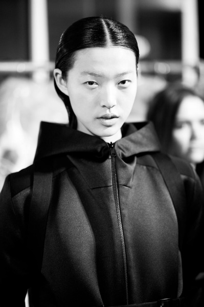 "shuitsang:  Tian Yi for Rad Hourani (Fall/Winter, 12-13)  Only 17, this 5'10"" teenager adorned the runways after appearing for the Vera Wang Fall 2012 lookbook. She may be all limbs but hasn't stumbled yet, bringing her willowy frame across smooth surfaces in seven inch stilettos."