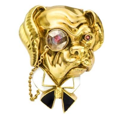 "VAN CLEEF & ARPELS Gold, Enamel & Diamond Bulldog Pin France, circa 1960 ""The Toff"" bulldog pin, designed as a whimsical, British bulldog, analogous to Winston Churchill, with white enameled wingtip collar and black enameled bow tie, circular-cut ruby eyes and gold chained, circular-cut diamond monocle, mounted in 18k yellow gold, with double pin stem in 18k yellow gold at back, numbered 77.551, signed Van Cleef & Arpels. 35mm length and 28mm width at widest point. Price $25,000.  Original source 1STDIBS.COM"