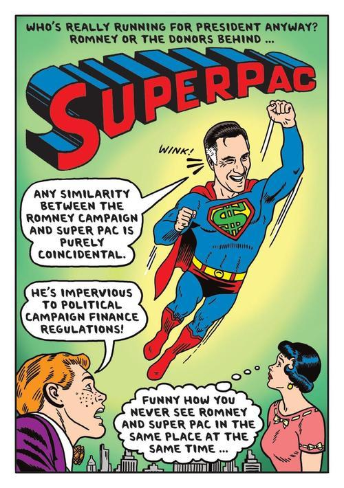 Superpac, Mitt Romney comic book cover parodyIllustration: Ward Sutton Source: The Boston Globe
