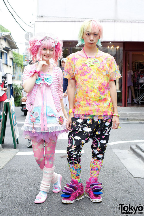 tokyo-fashion:  Yukapon & Junnyan wearing Pinkly Ever After, Super Lovers & 6%DOKIDOKI on the street in Harajuku.  hmmm …. not too sure
