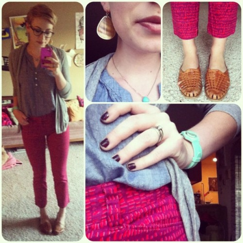 oilsandglitter:  Mad for pattern. Chambray tunic: Forever 21, Grey cardigan: T.J.Maxx, Magenta patterned ankle zip pants: Ann Taylor LOFT, Woven leather flats: Goodwill, Mint double wrap watch: Target, Earrings and rings: Francesca's Collections, Glasses: Penguin. (Taken with Instagram)  Because I didn't post today and you should follow her. Don't ask questions, just do it.