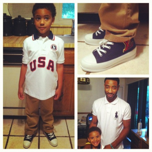 Mello first day of school, I'm soo proud of him… Had to get him fresh for school #usa #polo #LV #UaintGotThese   (Taken with Instagram)