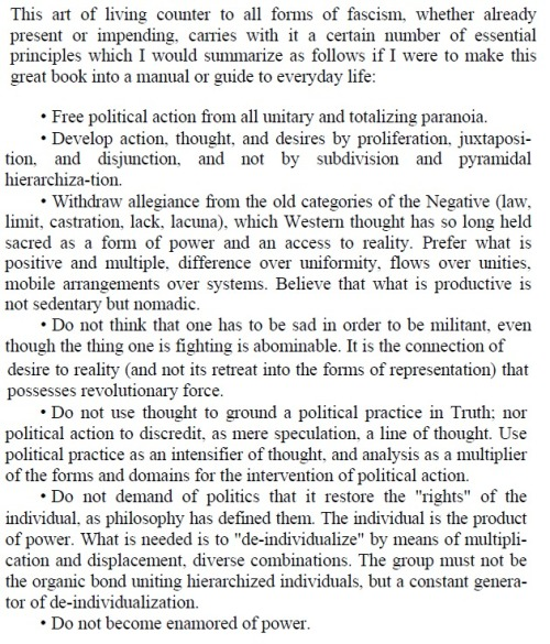 Michael Foucault, A Guide to Live Non-Fascist Life (preface to Anti-Oedipus)
