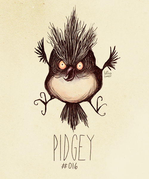 hatboy:  Pidgey #016 (Tim Burton Inspired Pokemon Re-Design)