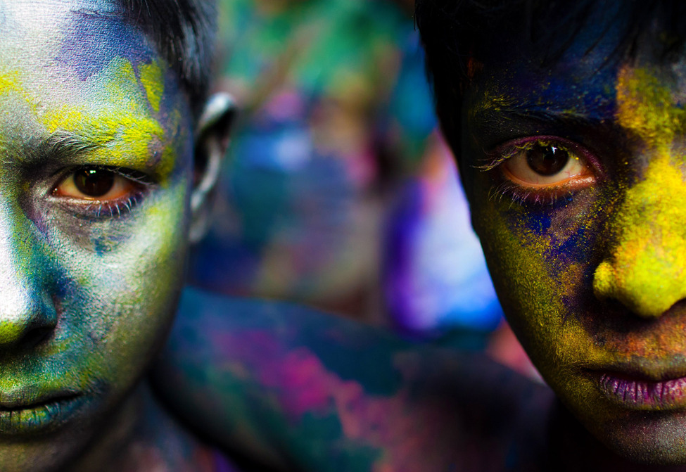 Photo of the Day: Two friends during the Holi festival of Hindu communities in Dhaka, Bangladesh. Holi is one of the most colorful festivals of the world.  Photo by: Mohammad Moniruzzaman (Knoxville, Tennessee); Old Dhaka, Bangladesh.