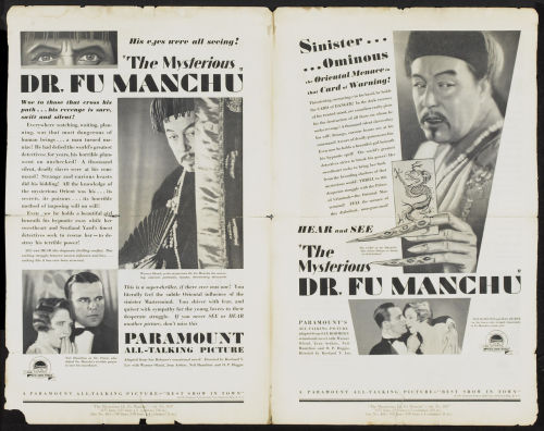 Promotional materials for The Mysterious Dr. Fu Manchu (1929)