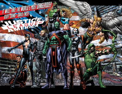 It was announced at FanExpo Canada that Geoff Johns and David Finch will be launching a new Jutice League of America title. Team members include Stargirl, Hawkman, Martian Manhunter, Steve Trevor, Katana, Catwoman, Green Arrow, Vibe, and the newest Green Lantern, Baz. In an interview with MTV Geek Geoff Johns discussed his reasoning for this teams line up.  GJ: We talked about characters that were League members, like Green Arrow and Hawkman that felt like they belonged… Characters that were unexpected, like Vibe and Catwoman. Obviously, Martian Manhunter is a big piece of it, and we hinted about this team back in Justice League #8, both with Green Arrow, Martian Manhunter, and Steve Trevor. And Katana was a new character. Stargirl is coming back, obviously a character that I have a huge affinity for. And then the new Green Lantern.  Geoff went on to talk about this revamped Stargirl, Pat Dugan and a Starman.  Geek: Let's talk about the characters a bit… I think I was the most excited to see Stargirl coming back, and you writing her again. What's the take on her? Is this the same Courtney Whitmore we know and love? GJ: Yeah, it is! She's slightly different… She is the opposite of Lindsay Lohan and Amanda Bynes. She is this real, All-American, wholesome superhero from Hollywood that is a phenomenon out in Los Angeles. She got her start on Hollywood Boulevard, she is incredibly altruistic, and idealistic. She is probably the one hero that goes against everything that the Paris Hilton generation is. That's where she comes from, so she brings a different voice, a different perspective to the team. She's younger, probably seventeen or eighteen years old. She's very exuberant, positive, optimistic… You'll learn a little bit more about her background and why she became Stargirl, and how she's connected to another superhero named Starman… Pat Duggan will be in there. It's very true to the original origins of Stargirl, but I think she's even more relevant now. And I love that if she has an article on TMZ? It's only positive. Geek: On the other end of the spectrum, the character I was most surprised to see in there was Catwoman. How does she end up in the mix? GJ: Catwoman is a very different perspective, and is brought in for a very different reason. She stays because they have something that she wants… And it's not at all what you'd expect. It's not a big diamond, it's not a get out of jail free card, it's something she's been searching for that's going to lead to a whole exploration of a side of Selina Kyle we haven't yet seen. But she is going to have a lot of fun on the team, she is going to be the Veronica to Stargirl's Betty, if you will, and she has a new dynamic because we haven't really seen her interact much with all these characters. Some of them not at all, like Vibe, and Stargirl… There's not a lot of interaction between her and Martian Manhunter, and I don't think she's ever interacted with Steve Trevor that I can remember. Catwoman has a very different reason for being on the team.  I really wonder if this is a new Starman or if he is referring to Mikaal Thomas that was seen in The Shade #1. Getting back into the nature of the team Geoff compared it to writing the JSA.  GJ: It's funny, the book feels very much like JSA, because there's a lot of character interaction, a lot of characters that aren't necessarily the A-List, which is always really fun to work with… I love working with non A-List characters. And having David draw those, they become A-List. So if you look at David's art, and this has influenced the book tremendously, he has this great power to his figures, this very great superhero art… But if you look at The Dark Knight, he also has these fantastic emotions, and getting emotion out of the characters, really seeing these characters on a journey together; the book is going to have a tone that is JSA, the original Ostrander Suicide Squad, which was very character driven, and again utilized characters we don't necessarily see together a lot. Those are the two biggest influences on where the book is going.  He also said a bit about Hawkman:  Seeing the new Green Lantern with Green Arrow, and revisiting that relationship with Green Arrow and Hawkman, because we think we know it, we think they're always at odds… And we want to turn it on its head a little bit, and delve into it more, and see what makes those two characters tick, to find out there's something in common they both have despite their differences.  Well this sounds like a book that any fan of Stargirl, Hawkman, or Geoff's run on JSA would enjoy.  How do you feel about Stargirl being on the main earth and not Earth 2? Do you think we'll see a new Starman or will it be Mikaal?
