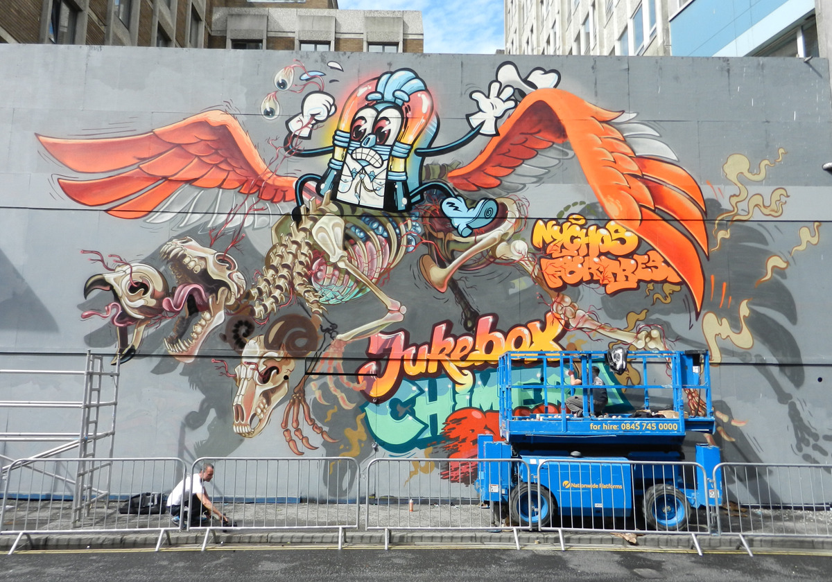devidsketchbook:  FLOATING ANATOMY MURAL NYCHOS is a graffiti artist from Vienna, Austria. Rooftop in New York 2012 Detroit Rock City See No Evil (Bristol 2012) Dissection of Mickey (Photo by Sophie Kirchner) Lords of Metal Mural (Photo by Hannes Friesenegger)  tumblr | facebook | flickr