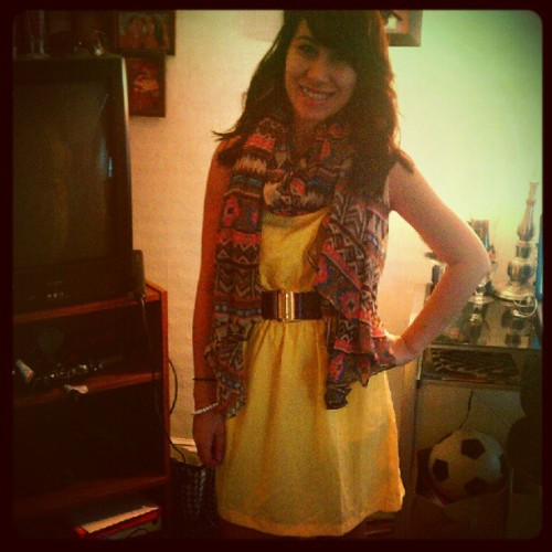 First day #yellowdress #scarf #boots #lovee  (Taken with Instagram)