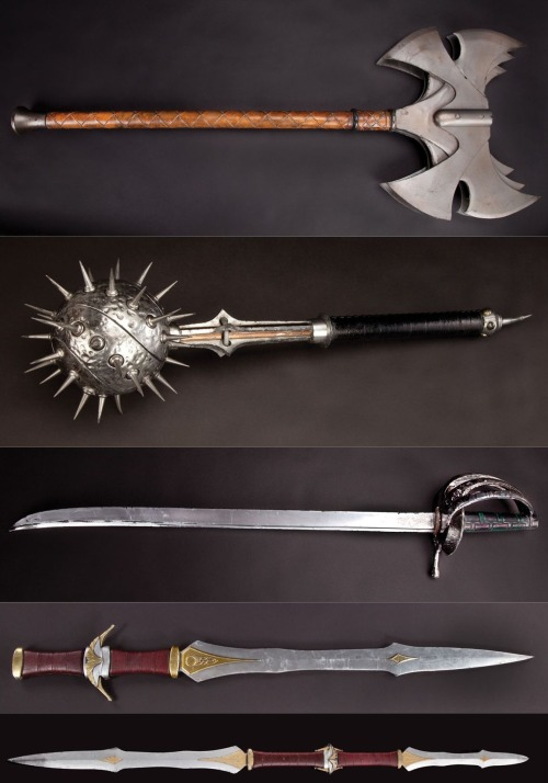 "greatodinsghost:   1 - Volstagg's stunt axe from Thor. Stunt version of Volstagg's axe of the type seen in the spectacular battle between Thor, his friends and the Frost Giants. Measures 40 in. long. 2 - Hogun ornate stunt mace from Thor. This stylized stunt prop is the signature weapon of Hogun that is first seen in the very first melee between Thor and his crew versus the Frost Giants. In the film, Hogun activates the mace, which dramatically deploys its severe metal spikes. 3 - Fandral's stunt cutlass from Thor. Fandral's signature weapon is visible during the initial battle between Thor's warriors and the Frost Giants. Measures 34 ¼ in. long with soft rubber hand guard. 4 - Sif's Stunt Asgardian sword from Thor. In the battle scene between Thor's faithful friends and the Frost Giants, Sif assembles two of her Asgardian swords transforming them into a double-bladed weapon, which she uses to dispatch her foes. Measures approx. 36 in. 5 - Sif's double-sided sword from Thor. This is a 72 in. long stunt sword. This is the signature weapon of Sif who assembles it by locking two individual swords together back to back. Sif causes havoc with this weapon in the opening battle with her leader Thor against the Frost Giants.   ""I… They… They're so beautiful!"""