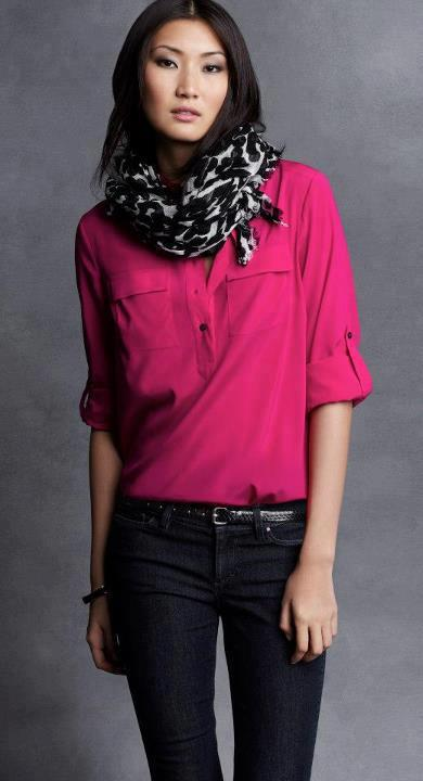 anntaylor:  Pop of Pink Our favorite camp shirt updated for fall in new hues and bold prints.