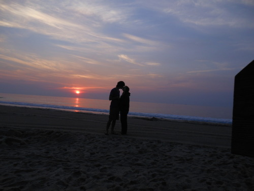 this is us kissing on the beach at sunrise. we just began a long distance relationship for college after dating for over 3 years and it's pretty hard so far, i miss him terribly. although i have my doubts and worries, i'm pretty confident in our ability to make it work. i know that i love this boy with all my heart and i will for the rest of my life, and nothing can take that away from me. deirdreanne.tumblr.com