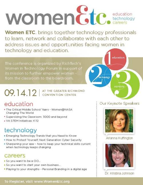 @Women_etc Kim Mahan of @IntelliGraph asked us to spread the word about this great event for #rva