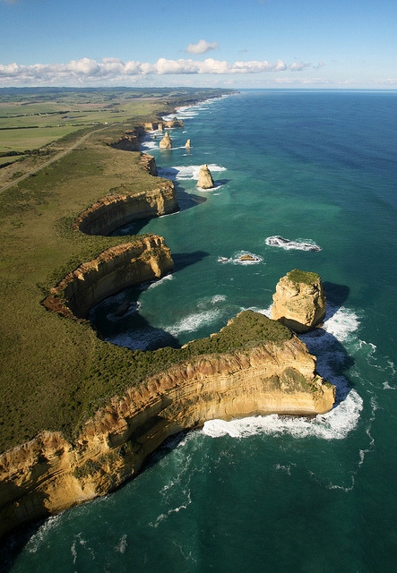 visitheworld:  Aerial view of The Twelve Apostles, Great Ocean Road, Australia (by saranapier1).