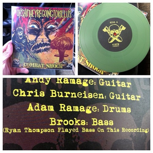 Hey look, I'm on a record! They turned out pretty nice. Oh Shit They're Going To Kill Us - Combat Shock EP. #vinyl #record #seveninch #combatshock #ohshittheyregoingtokillus #armygreen #bass (Taken with Instagram)