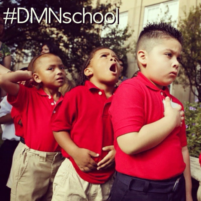 Show off you or your kids' first day of the 2012-2013 school year on IG by tagging your snapshots #DMNschool. We'll pick three to highlight here, on IG and on Facebook tomorrow. In this pic, Angel Alvarado, Devon Sullivan and Alek Moo, all 4-year-old pre-kindergarten students at Robert E. Lee Elementary in East Dallas, recited the Pledge of Allegiance this morning (Photo: G.J. McCarthy/DMN). View all of our D-FW area first-day-of-school blogging, photos and video right here.