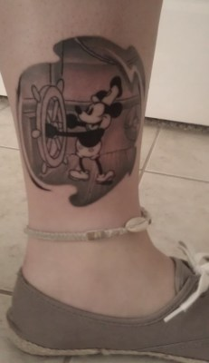 fuckyeahtattoos:  Steamboat Willie done by Steve at Hurricane Tattoo in New Port Richey, FL