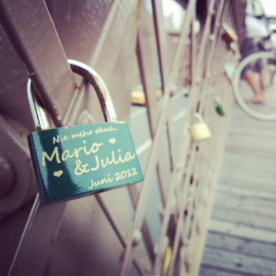 Padlocks on the Brooklyn Bridge. Couples lock their hearts up together, & throw the key in the East River, New York.  Awwww (Taken with Instagram)