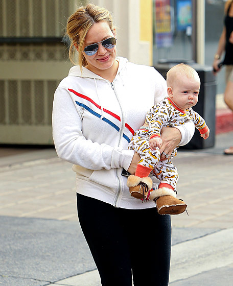 This outfit on Hilary Duff's baby Luca is appropriate for crisp fall days spent relaxing by the fire in your room at, like, a ski resort. Drinking apple cider, admiring foliage from the indoors, ignoring people. It's not appropriate for Los Angeles in August. August! In fact, Uggs shouldn't be a public shoe at all.