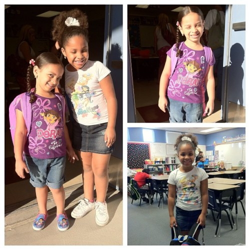 #FirstDayOfSchool #NoFilter #Required #NaturalBeauty #iLoveMyKids #ProudFather  =D #btw the sun got in they're eyes. Lol! (Taken with Instagram)