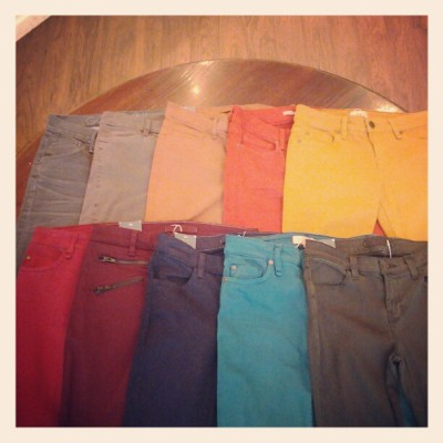 Say hello to delcious fall denim in an array of colors from #jbrand, #vince, #sanctuary, and #goldsign. Which color is your favorite? We just can't decide! (Taken with Instagram at Kiwi)