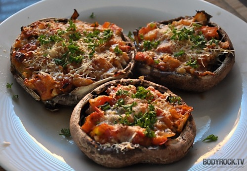 Portabella Pizza!  This is a really cool, creative recipe.  Check out the link.