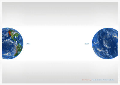 Global warming. If we don't act now, the future looks blue.