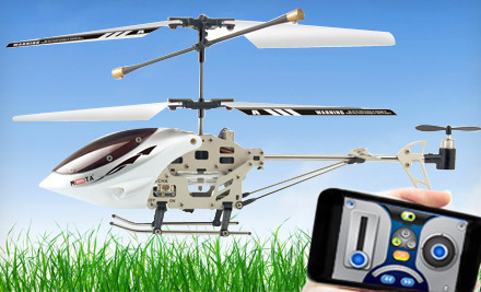 "Mota Remote-Controlled Helicopter for the iPhone, iPad, or iPod TouchThe Mota helicopter loftily slices through tropospheric air, hovering and maneuvering at the command of its iPhone, iPad, or iPod Touch owner. From a distance of up to 20 feet, pilots control their chopper via a free app. The app allows operators to choose between using their device's touchscreen or accelerometer to dictate the helicopter's flight path. The mechanical bird arrives fully charged and recharges via USB. First-time users only need to download the free app and mail a thank-you card to the Wright Brothers before taking to the skies.Features Compatible with iPhone, iPad, and iPod Touch Must download a free app that controls the helicopter's altitude, direction, and onboard lights 20-foot flying range helps kids rescue baseballs from birds' nests Three-channel radio control Includes a USB cable for swift and simple recharging Product specs: Dimensions: 9""x4.5""x2.5"" Weight: 56 g Power source: 3.7-volt 240mAH lithium-polymer battery Charge time: approximately 30 minutes"