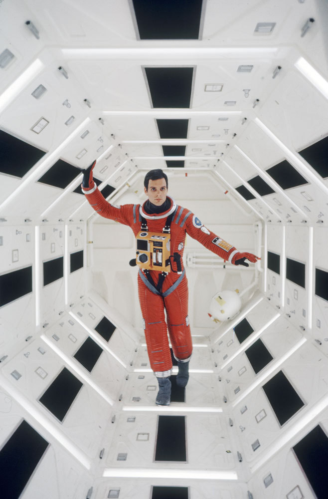 Keir Dullea on the set of 2001: A Space Odyssey