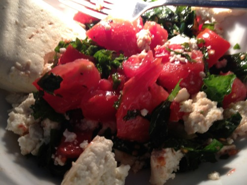 A salad from lunch last week. I made the insalata pomodoro by tossing wedge-cut heirloom tomatoes from Grandma's garden with some basil [also garden fresh of course], olive oil, salt and pepper. I also shredded kale and mixed in crumbled tofu- so so tasty.