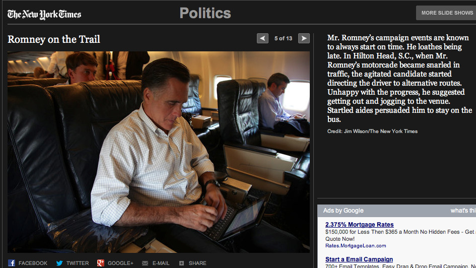 Bag's Take-Away:  Why not just call him anal?  via:NYT slideshow: Romney on the Trail   Visit BagNewsNotes: Today's Media Images Analyzed  —————  Topping LIFE.com's 2011 Best Photo Blogs — also follow us on Twitter and Facebook.