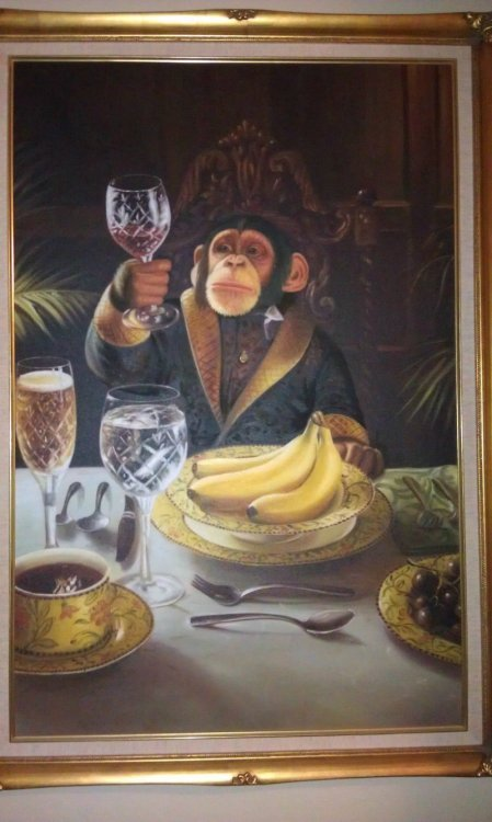 Chimp with a Wine Glass Manet of the apes.