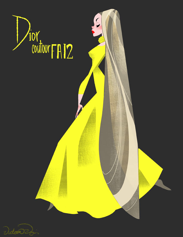 Inspired by Dior Couture 2012! I love the yellow color and the long sleeve cut of this dress! It's so simple and different than most couture, but I love it!