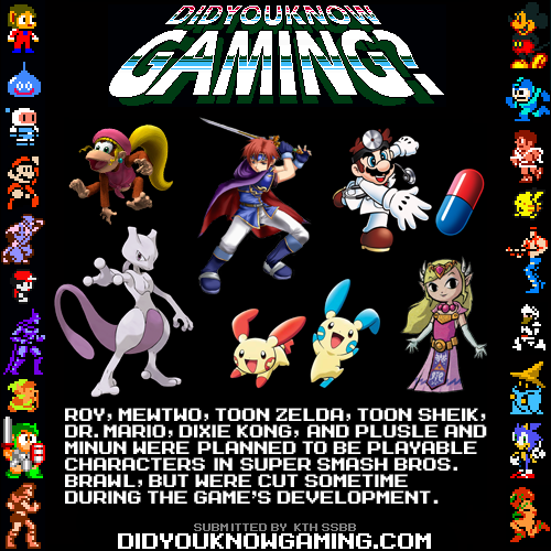 didyouknowgaming:  Super Smash Bros. Brawl.  >plusle and minun >Toon zelda/sheik >mewtwo WHY WOULD YOU REMOVE THEM