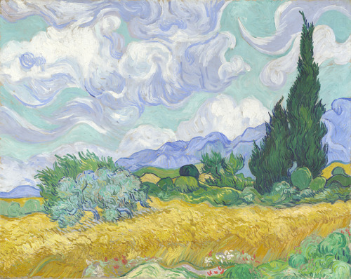 Vincent van Gogh - A Wheatfield, with Cypresses [1889]  This was painted in September 1889, when Van Gogh was in the St-Rémy mental asylum, near Arles, where he was a patient from May 1889 until May 1890. It is one of three almost identical versions of the composition. Another painting of the cypresses (New York, Metropolitan Museum of Art) was painted earlier in July 1889, and was probably painted directly in front of the subject. [Oil on canvas, 72.1 x 90.9 cm]