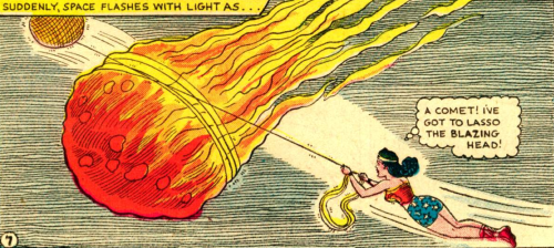 superdames:  Lasso the blazing head. (Click to make big!) —Wonder Woman #84 (1956) by Robert Kanigher & H.G. Peter