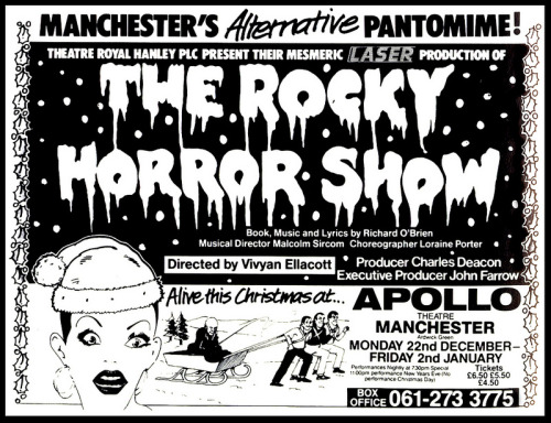 Christmas ad for The Rocky Horror Show at the Apollo Theatre in Manchester — part of the Hanley Tour. Looks pretty ridiculous, what with the lasers and all. I have some live audio recordings of the show from there (in the '80s), maybe Ill post one.