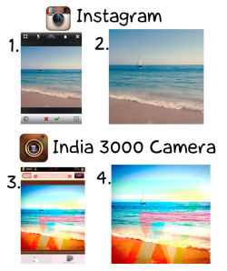 It's MONDAY! New tutorial ! Super simple ! Here we're using India3000 (.99)  and Instagram (free) 1. Open Instagram, Snap a photo or Upload image.  2. Choose Nashville filter,and Save . 3. Open India 3000, upload previous edited photo from camera roll. Choose Flanders300 to layer over edited photo, and save.   4. Upload to instagram and Voila! I really enjoy using flanders300 because of the fun edgy shapes, and that pop of color! Upload your unique edits at Insteegram and make your own shirt now! Oy Oy!