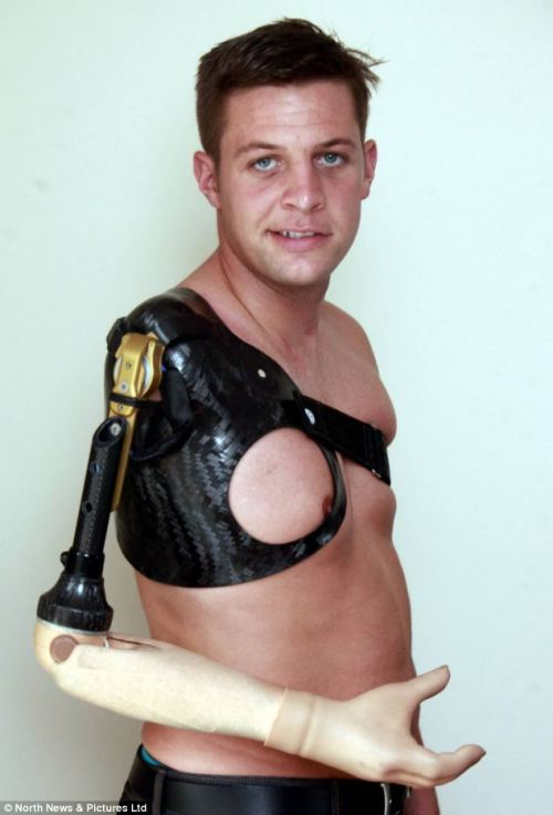 "alex-android:  neurosciencestuff:  Britain's first bionic veteran has a new brain-controlled robotic arm that is transforming his life.Andrew Garthwaite, 25, had his right arm blown clean off by a rocket-propelled grenade during a firefight with the Taliban in Afghanistan in September 2010. In January he had the state-of-the-art limb wired to his nervous system during a six-hour operation in Vienna, Austria. Now he is getting to grips with his new body part and is able to ride his motorcycle and drive a car again. Mr Gathwaite, who lives with his new wife Kailey, also 25, in South Shields, Tyneside, said: 'It's been incredible. I thought I might never be the same. But my life is starting to get back to normal - I'm on my motorbike and I'm back in a car. I can do things that I never thought I would have been able to do'.  He said: 'I thought I would get a new hand of a prosthetic arm. 'But in Vienna they did surgery on the nerves and it's changing my life. In the future they are talking about sensitivity so one day you could actually feel the arm.' Mr Garthwaite, who was a corporal with the Queen's Royal Lancers when he was injured, was previously fitted with a prosthetic limb, which he controlled by flexing his pectoral and back muscles. But during the pioneering treatment in January, surgeons dissected his right shoulder to redirect nerve endings that previously controlled his arm and hand. After isolating the nerves, they re-attached them to his chest muscle.  Brain signals are picked up by electrodes which trigger motors meaning his arm is controlled completely by his mind. Mr Garthwaite still has a long road to recovery - experts predict it could take up to 18 months before he fully masters his new arm. He added: ""I'm still on the basics stage. I know I'm only going to get better.'    This is the sort of beautiful thing that makes me proud of medical science."