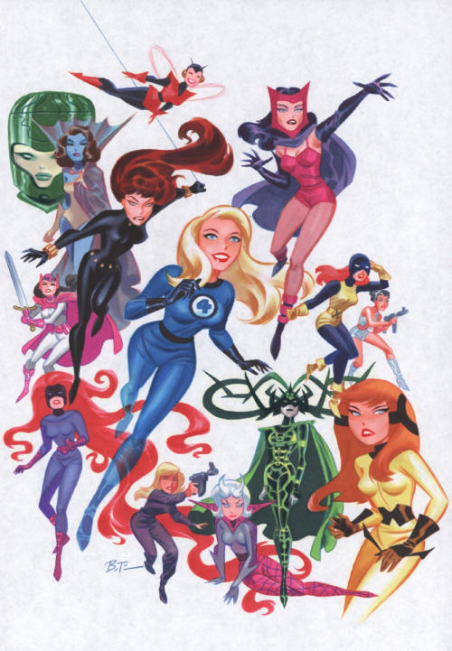brianmichaelbendis:  The women of Marvel by Bruce Timm  Art director of Marvel Heroes, Josh Book, is a huge Timm fan. Pretty sure this is by his desk.