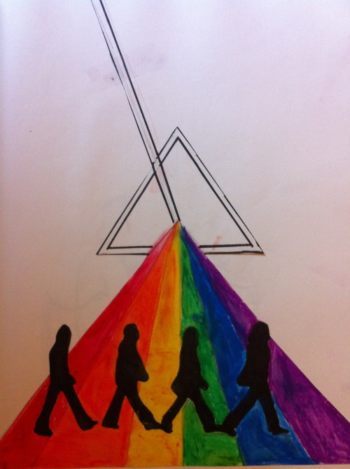 my slightly messy dark side of abbey road drawing