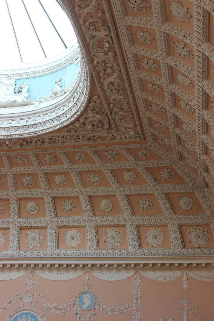 a-l-ancien-regime:  Ceiling  by Joseph Rose in the staircase at Claydon House, 1767-68. Claydon was built by Ralph, 2nd earl Verney (1712-91), between 1754 and 1791.  The stucco decorations are by Joseph Rose (1767-68) and form a continuous festoon on the walls and from which hang medallions, lamps and trophies.