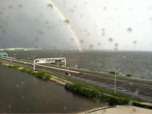 govchristie:  Rainbow spotted over Tampa. Goodbye to the rain and wind.  Kudos to NJ Gov. Christie for catching a good shot that we missed. Let's hope the weather holds, especially since they don't let umbrellas into the convention perimeter….  - Liba