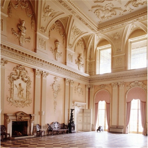 The great hall at Ragley Hall. The baroque plasterwork was designed by James Gibbs in 1750.