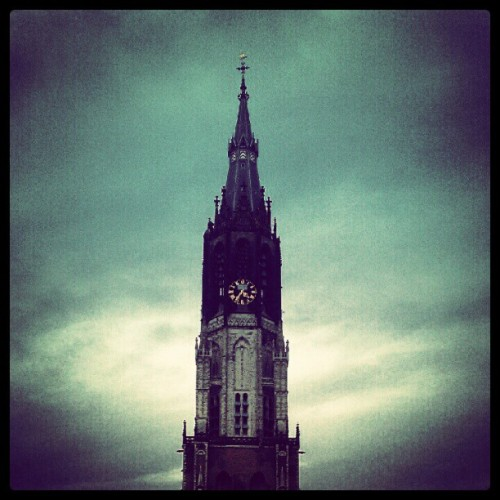 GLOOM #church #delft #sky #weather #clocktower #cloud #clouds #blue #grey #instamood #ig #iger (Taken with Instagram)