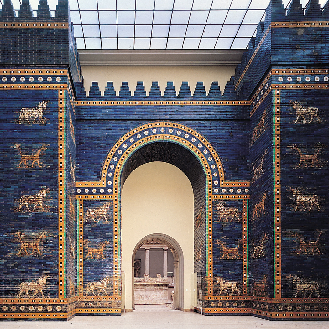art-library:  Ishtar Gate (restored), Babylon, Iraq, ca. 575 BCE.  Babylon under King Nebuchadnezzar II was one of the greatest cities of the ancient world. Glazed bricks depicting Marduk's dragon and Adad's bull decorate the monumental arcuated Ishtar Gate.